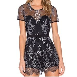 Lovers + Friends Black Lace Romper NWT